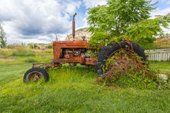 Abandoned tractor. Old abandoned tractor in grass field Stock Images