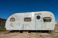 Abandoned trailer in bombay beach ghost town california Royalty Free Stock Images