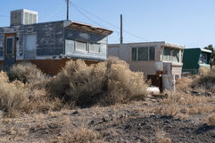 Abandoned trailer park. Trailer park in the desert, abandoned long ago stock photos