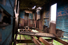 Abandoned train cars. Train cemetery or junkyard Royalty Free Stock Images
