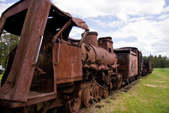 Abandoned train cars. Train cemetery or junkyard Royalty Free Stock Image
