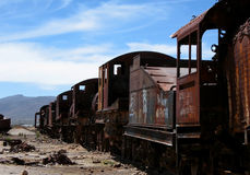 Abandoned Train Cars. Train cemetery or junkyard, uyuni, bolivia Royalty Free Stock Photography