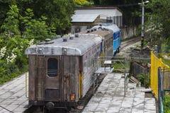 The abandoned train of the children`s railroad in Uzhhorod. Ukraine stock photography