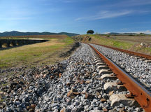 Abandoned train tracks. Landscape with abandoned train tracks Royalty Free Stock Photo