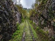 Abandoned train tracks near Anina, Romania. Abandoned train tracks near Anina city, Romania Royalty Free Stock Photo