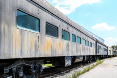 Abandoned Train on Tracks Stock Photo