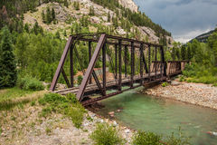 Abandoned Train Trestle. Old train trestle over the Animas River in southwest Colorado Royalty Free Stock Image