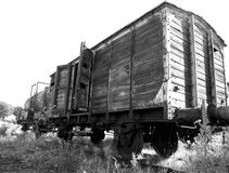 Abandoned train units. Black and white photo a two abandoned train units Stock Images