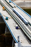 Abandoned transport bridge with cars and the subway train. Concept appokalipsis. Accident Royalty Free Stock Image