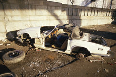 Abandoned trashed car. In New York Royalty Free Stock Images