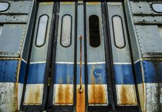 Abandoned Trolley Car with Rusted Doors Royalty Free Stock Photography