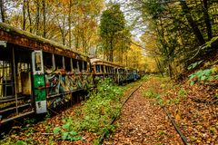 Abandoned Trolley Cars in Fall with rails in woods. Abandoned trolley cars painted with graffiti in woods in fall with rails royalty free stock photography