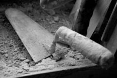 A trowel in closeup stock photography