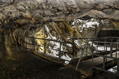 An abandoned tunnel in the marble quarry Ruskeala in Karelia, Ru Stock Photos