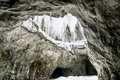 An abandoned tunnel in the marble quarry Ruskeala in Karelia, Ru Stock Images