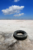 Abandoned tyre on salt sea shore Stock Images