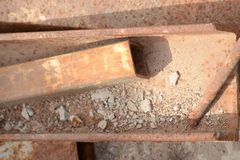Rusty iron profile in the open air. stock image