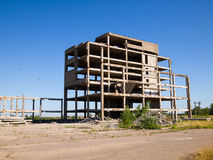 Abandoned unfinished building. Destroyed concrete structures of unfinished building Stock Photography