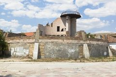 Abandoned unfinished building in the Mariners Square in Evpatoria, Crimea. Russia Stock Photos