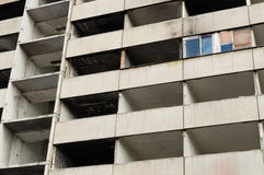 Abandoned and uninhabitable apartment building destroyed by fire Stock Image
