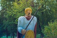 Abandoned vandaliserade monumentet av riddaren på Tjernobyl Arkivfoto
