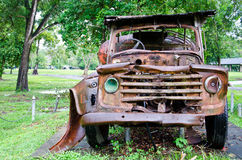 Abandoned vehicle in a park Stock Image