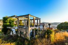 Abandoned view - Vigo - Spain. An old abandoned house overlooking Vigo - Spain stock images
