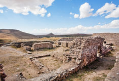 Abandoned village of ancient people of Perisa around historical Zoroastrian fire temple Stock Images