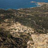 Abandoned village of Occi and the coast of Corsica Royalty Free Stock Image