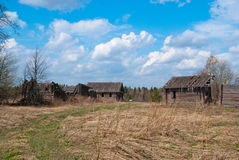 Abandoned village. With old destroyed houses Stock Photos