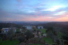 Abandoned village at sunset Royalty Free Stock Photo