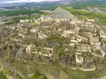 Abandoned village of Tiermas, Zaragoza stock images