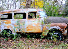 Abandoned vintage car. Royalty Free Stock Images