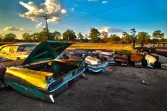 Abandoned Vintage Car Lot near Austin Texas stock photos