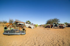 Abandoned vintage cars in Solitaire, a lonely settlement in Nami Stock Photos