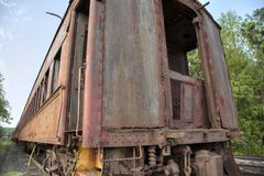 Abandoned vintage train car. Stock Photo
