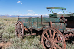 Abandoned Wagon of the West. Driving through the area known as North Park, in the Colorado Rocky Mountains, I spotted this old, abandoned wagon just a little Stock Photo