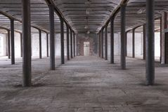 Abandoned Warehouse. Abandoned old Industrial Warehouse interior royalty free stock photo