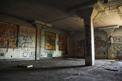 Abandoned warehouse. Abandoned, graffiti filled warehouse in a dangerous part of the city royalty free stock photography