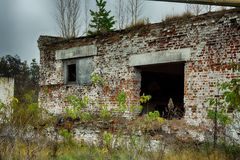 Abandoned warehouse and industrial buildings and buildings. Are covered with garbage and overgrown with bushes and grass Royalty Free Stock Image