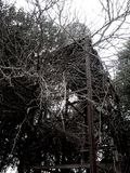 Abandoned water tank stock photo