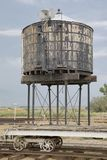 Laws Railroad Museum, California. Abandoned water tank at the makeshift ghost town of Laws in California, USA stock images