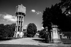 Abandoned water tower in Palmanova, Italy. Balck and white photography Stock Photography