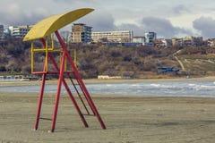 Abandoned weathered lifeguard tower Stock Photos
