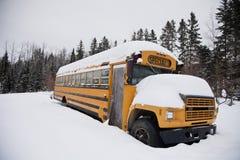 Abandoned weird school bus Stock Photography