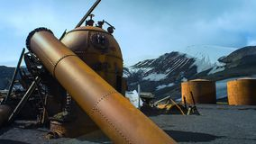Abandoned whaling station in Antarctic royalty free stock image