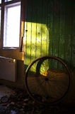 Abandoned wheel. And trash in Sweden Stock Photo
