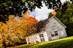 Abandoned White Shack during Autumn Season Royalty Free Stock Photo