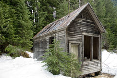 Abandoned Wilderness Cabin. An old abandoned, empty, delapitated trapper's cabin in the British Columbia, Canada wilderness royalty free stock images