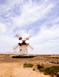 Abandoned windmill, Spain. Abandoned windmill near Cotillo, Fuerteventura stock photography